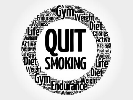 quit: Quit Smoking circle word cloud, health concept