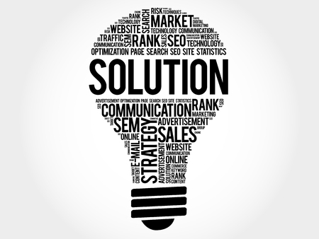 reasoning: SOLUTION bulb word cloud, business concept