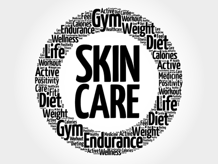 spa collage: Skin care circle word cloud, fitness, sport, health concept