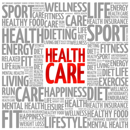 managed: Health care word cloud background, health concept Illustration