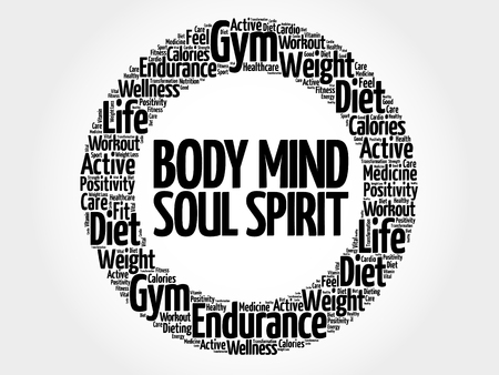 Body Mind Soul Spirit circle word cloud, health concept