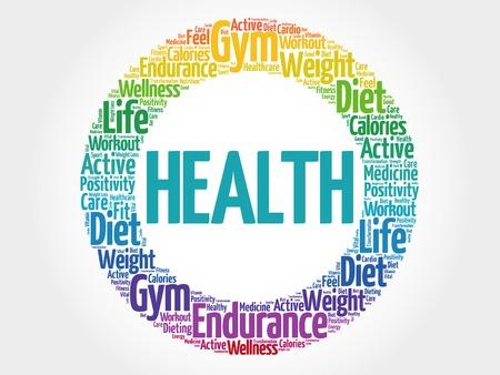 autocuidado: SALUD círculo nube de palabras, fitness, deporte, el concepto de salud Vectores