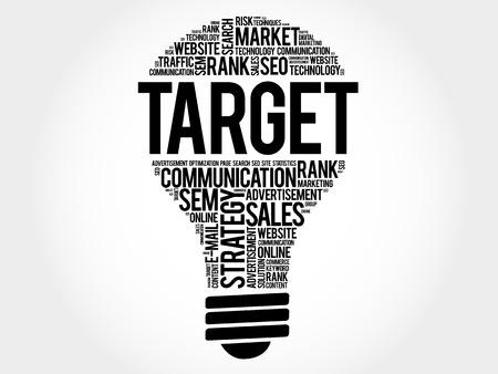 smart goals: TARGET bulb word cloud, business concept