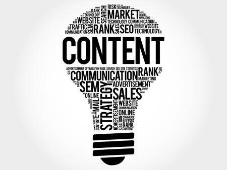 backlink: CONTENT bulb word cloud, business concept Illustration