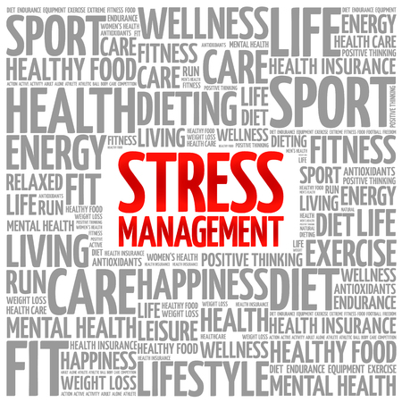 transactional: Stress Management word cloud background, health concept