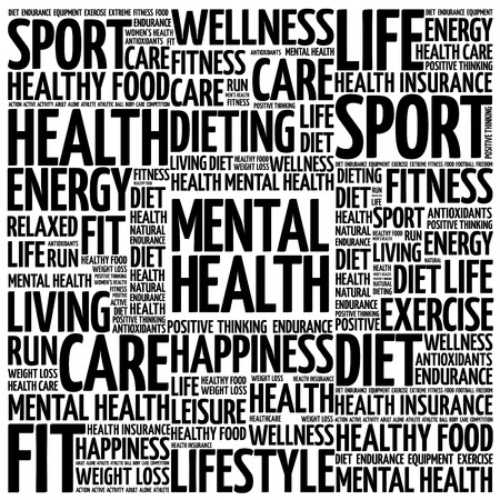 mentally: Mental health word cloud background, health concept