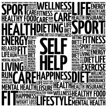self help: Self Help word cloud background, health concept Illustration