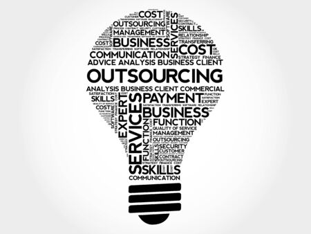 Outsourcing bol woord wolk, business concept Vector Illustratie