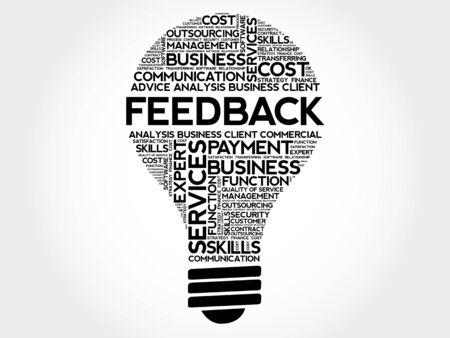 feed back: Feedback bulb word cloud, business concept Illustration