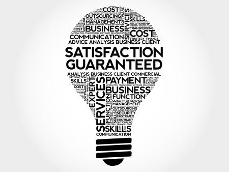 satisfaction guaranteed: Satisfaction Guaranteed bulb word cloud, business concept