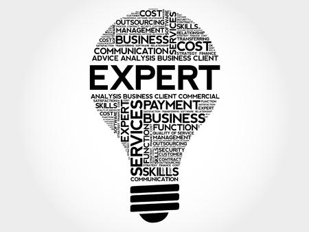 Expert bulb word cloud, business concept Векторная Иллюстрация