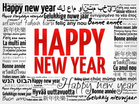 Happy New Year in different languages, celebration word cloud greeting card