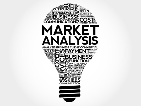 strengths: Market Analysis bulb word cloud, business concept