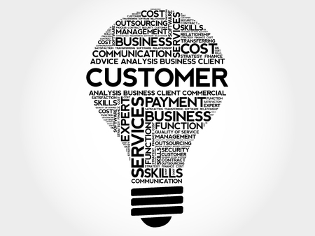 underestimate: Customer bulb word cloud, business concept