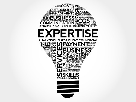 expertise concept: Expertise bulb word cloud, business concept