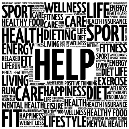 supportive: HELP word cloud background, health concept