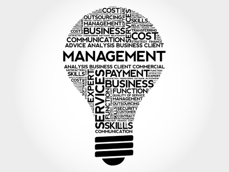 leading light: Management bulb word cloud, business concept