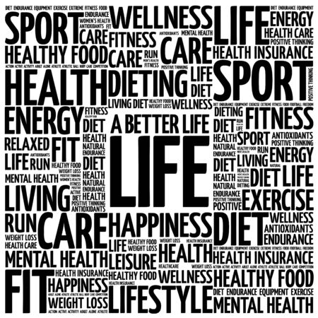 joyous life: A Better Life word cloud background, health concept