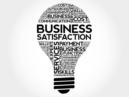 boredom: Business Satisfaction bulb word cloud, business concept