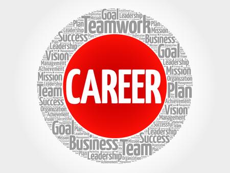 job satisfaction: Career circle word cloud, business concept