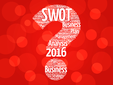 swot: 2016 SWOT Analysis question mark word cloud, business strategy management concept