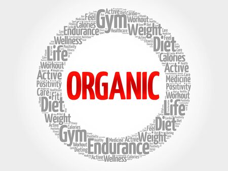 vitamine: ORGANIC word cloud, fitness, sport, health concept