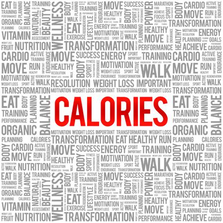 calories: CALORIES word cloud background, health concept