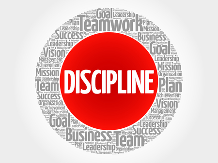 interdependent: DISCIPLINE circle word cloud, business concept