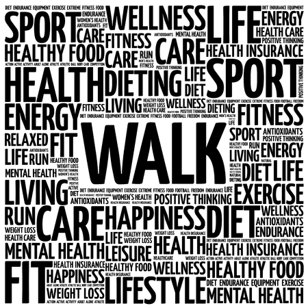 bicycle pump: WALK word cloud background, health concept