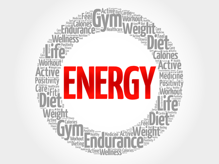 destress: ENERGY word cloud, fitness, sport, health concept