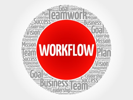workflow: WORKFLOW circle word cloud, business concept Illustration
