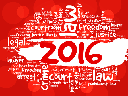 legality: 2016 Law word cloud business concept background