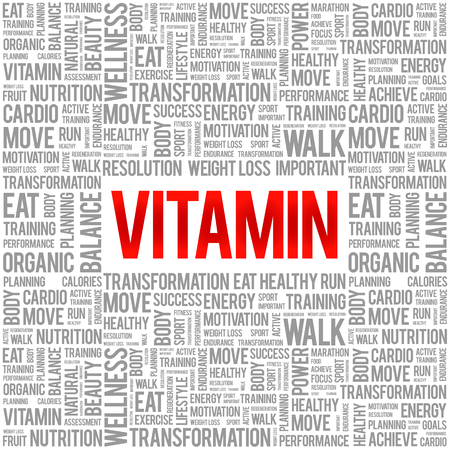 vitamin: VITAMIN word cloud background, health concept