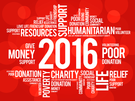 altruism: 2016 help word cloud concept background