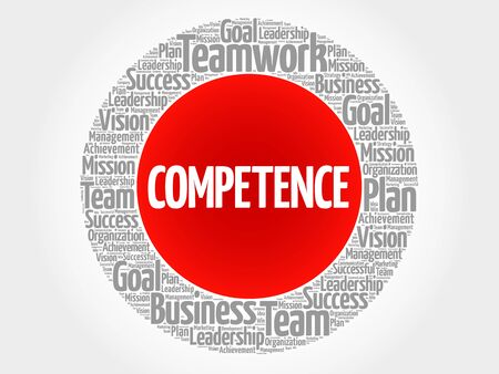competent: COMPETENCE circle word cloud, business concept