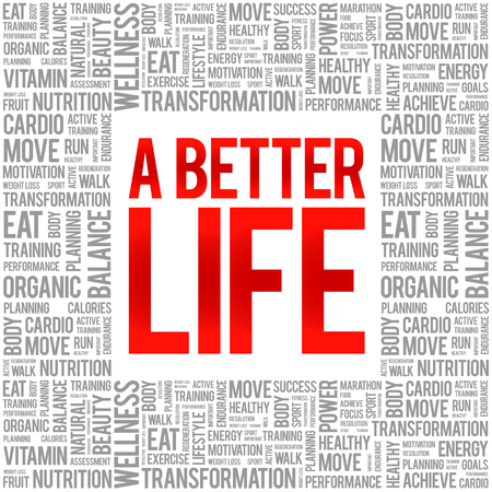live feeling: A Better Life word cloud background, health concept