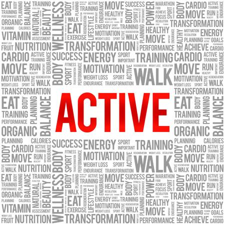 active: ACTIVE word cloud background, health concept