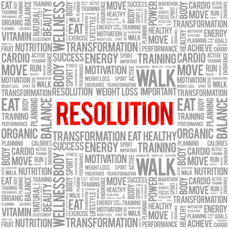 resolution: RESOLUTION word cloud background, health concept