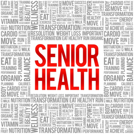 losing memories: Senior health word cloud background, health concept Illustration