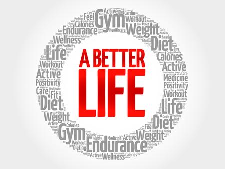 joyous life: A Better Life word cloud, health concept Illustration