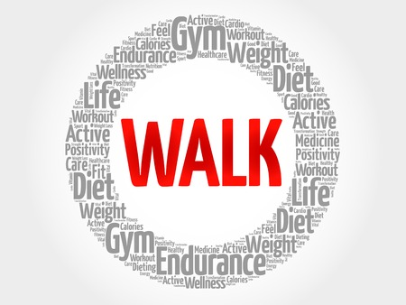 bicycle pump: WALK word cloud, fitness, sport, health concept