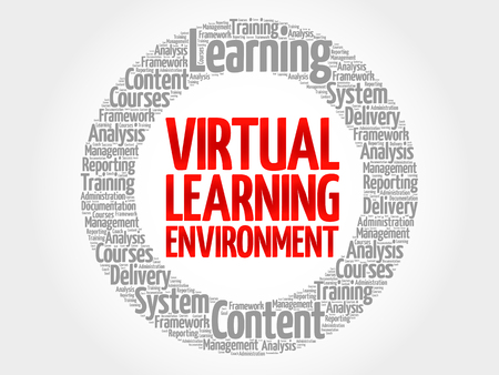 synchronous: Virtual Learning Environment circle word cloud, business concept Illustration