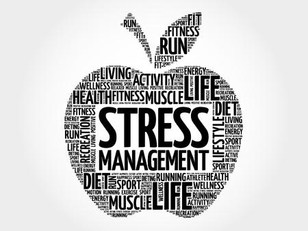 realization: Stress Management apple word cloud, health concept Illustration