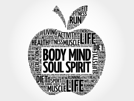 mind body soul: Body Mind Soul Spirit apple word cloud, health concept