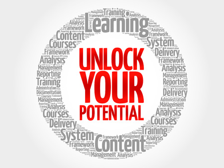 potential: Unlock your potential circle word cloud, business concept