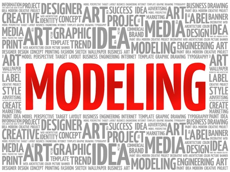 modeling: MODELING word cloud, creative business concept background Illustration