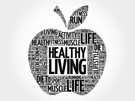Gezond Leven appel woord wolk, gezondheid concept