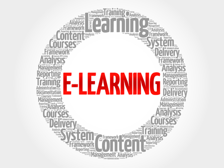 instances: E-LEARNING circle word cloud, business concept
