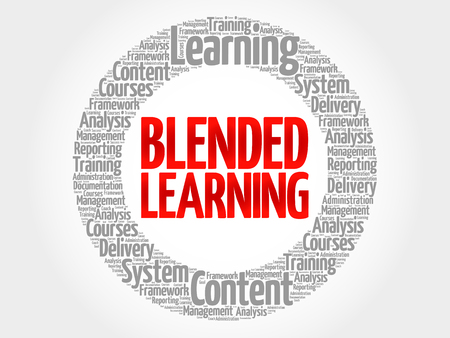 blended: Blended Learning circle word cloud, business concept