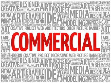 marketer: COMMERCIAL word cloud, creative business concept background Illustration